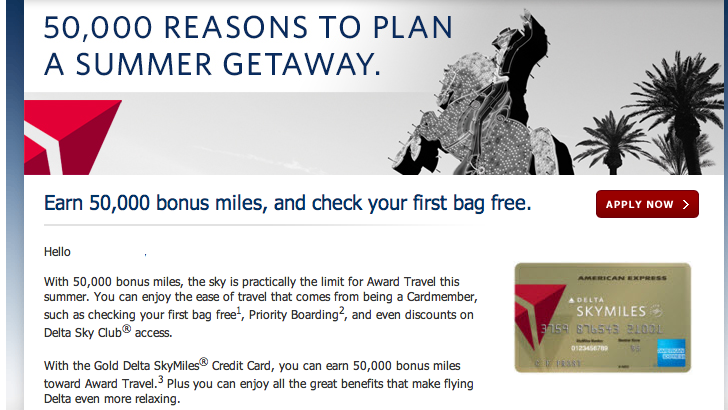 50000 mile Gold Delta Amex 50,000 mile offer for American Express Gold Delta Skymiles card   targeted