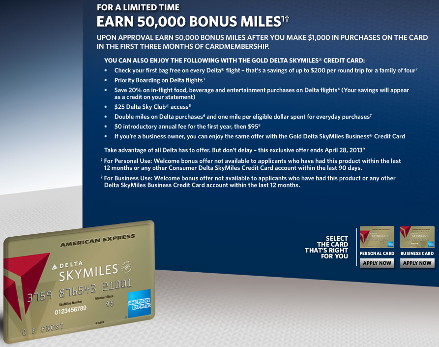 50,000 bonus mile offer for Amex Gold Delta Skymiles card - targeted