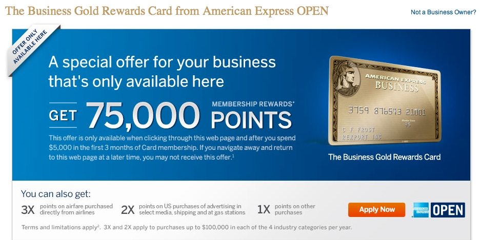 75000 Points For Business Gold Rewards Card From American Express Open