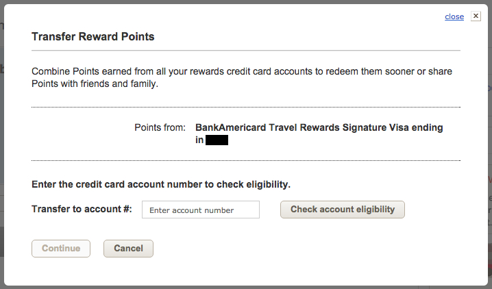 Bank of America récompenses de voyage échanger des points