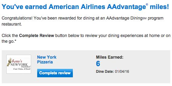 AA dining miles