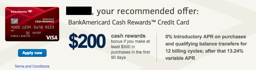 BankAmericard Cash Rewards $200